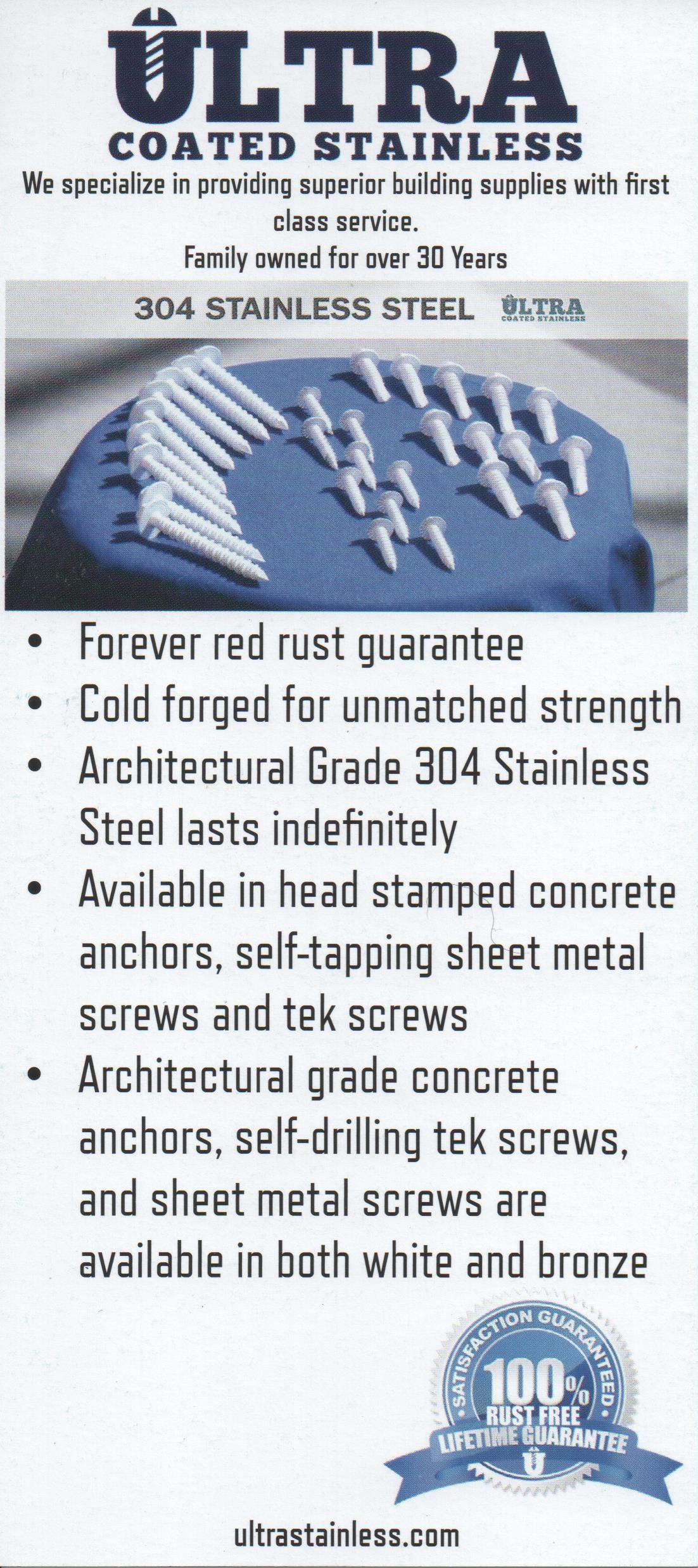304 Ultra Coated Stainless Steel Fasteners Af Screen Repair